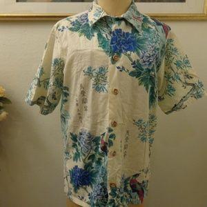 Vintage Floral Peacock Print Short Sleeve Shirt